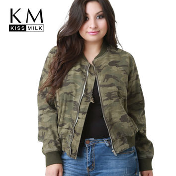 Kissmilk Plus Size Fashion Women Clothing Casual Camouflage Outwear O-Neck Long Sleeve Big Size Stadium Jacket 3XL 4XL 5XL 6XL
