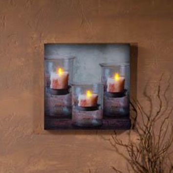 Lighted Recycled Glass Candle Canvas