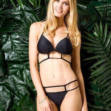 Black Triangle Top with Strappy Bottom Bikini