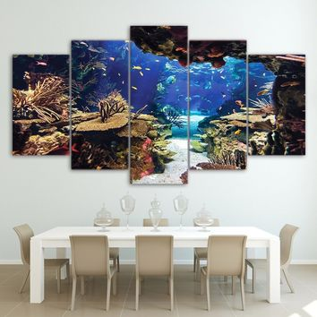 HD Printed 5 piece canvas art Underwater Sea Fish Coral Reefs Canvas Print room decor Wall poster picture  CU-1324B