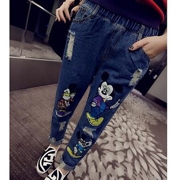 New Arrival 2017 Womens Elastic Waist Retro Finishing Personality Boyfriend Hole Jeans Fashion Mickey Print Harem pants