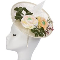 Ivory Fascinator with Flowers/ Kentucky Derby Fascinator/ Derby Hat/ Percher