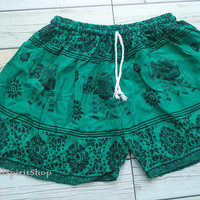 Green Boho Elephant Print Shorts Ikat Summer Beach Tribal Fashion Clothing Aztec Ethnic Hobo Cloth Cute Comfy Wear with Tank top or Jeans