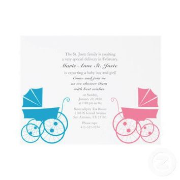 twin BABY boy & girl custom BABY SHOWER invitation from Zazzle.com