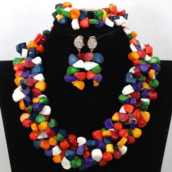 Natural Coral Bead Necklace Set