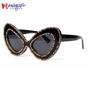 2018 sunglasses women brand designer Butterfly Big Frame Rhinestone sunglasses Oversized glasses Fashion Shades oculos