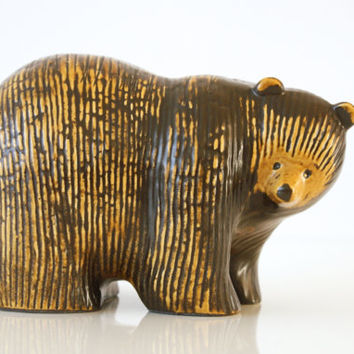 LISA LARSON Bear, Medium from Zoo Series, 1976, Stoneware Figurine, Signed Gustavsberg Skansen Nordic, Hand Painted, Swedish Scandi Design