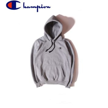 Champion sweater classic logo small standard tide hooded jacket plus velvet thick little sweater Gray