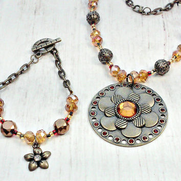 Beaded Necklace and Bracelet Set - Flower Necklace with Matching Flower Bracelet - Beaded Jewelry - Mothers day Gift