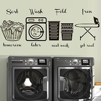 Wall Decal Decor Decals Sticker Art Laundry Room Set Signs Home Wash Ironing Iron Laundry Basket Lettering M1602 Maden in USA