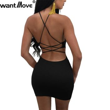 Wantmove 2018 summer dress sexy back lace up sleeveless mini dress women bodycon club dresses fashion vestidos JZ024