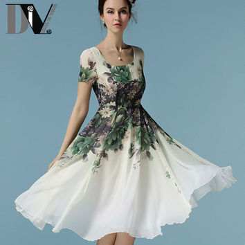 DIV Flower Printed Elegant Chiffon Dresses Summer Women High Waist Casual Dresses Square Collar White&Pink Knee-Length Vestido