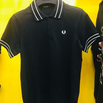 hcxx 1109 FRED PERRY Double-striped Lapel fashion wheat ear classic collision color lapel POLO Shirt