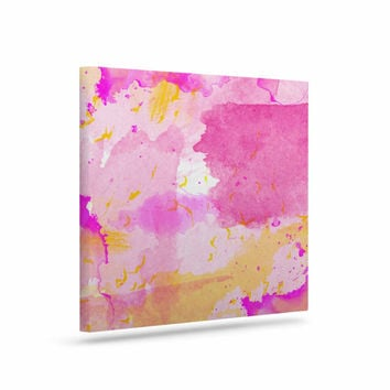 "Shirlei Patricia Muniz ""Aqua Pink & Yellow"" Yellow Pink Canvas Art"