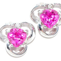 1 Carat Pink Sapphire Heart Diamond Stud Earrings .925 Sterling Silver Rhodium Finish White Gold Quality