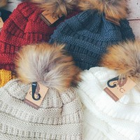 CC Fur Pom Pom Knit Beanie - 6 Colors