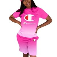 Champion Fashion New Letter Print Gradient Sports Leisure Top And Shorts Two Piece Suit 1#