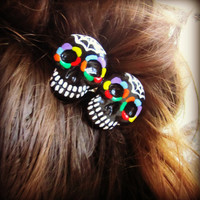 Rainbow Sugar Skull Haunted Hair Candy Barrette Hair Clip