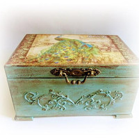 Peacock Chest Wedding Card Box Personalized Keepsake Box Peacock Card Holder Antique Chest Anniversary Gift Wedding Gift Birthday Gift