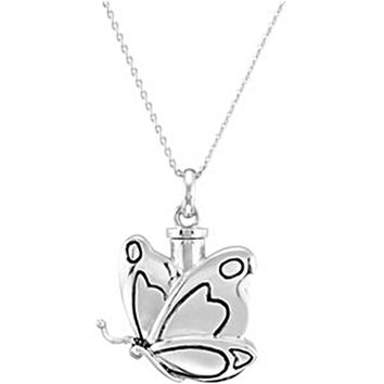 Inspirational Blessings Sterling Silver Butterfly Ash Holder Necklace