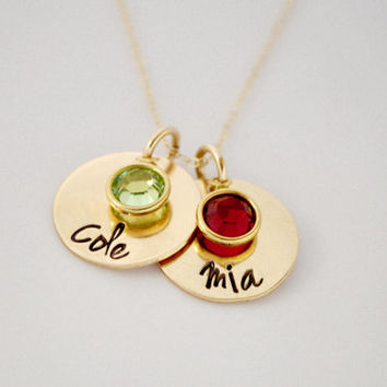 GOLD Hand Stamped Mommy Necklace with birthstones You chose the number of charms