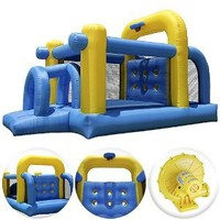 Cloud 9 Tunnel Course Bounce House - Inflatable Bouncer Climbing Obstacle with Basketball Hoop: Toys & Games