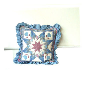 vintage patchwork square cushion cover . frilly trim . floral . shabby chic. statement . etsy uk