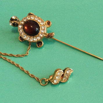 Rhinestone Hat Pin Amber Glass Turtle Stickpin Vintage Jewelry