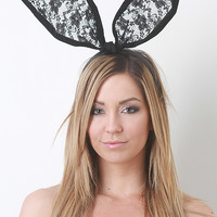 Velvet Lace Bunny Ears Headband