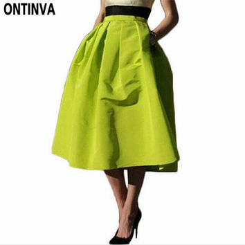 Retro Pleated Maxi Long Skirt High Waisted Saia Midi Puff New 2017 Atacado Roupas Femininas Spring Skirts Female Womens Vestidos