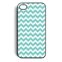 Mint Blue Zigzag Chevron Pattern Snap On Case Cover for Apple iPhone 4 and 4s