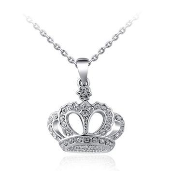 Women Classic Princess Crown Necklaces Pendant