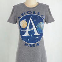 ModCloth Quirky Mid-length Short Sleeves Cute for the Moon Tee