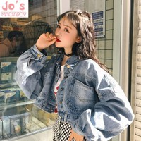 2018 Women Denim Jacket Coat Chic Style Casual Vintage Lady Outwear Kawaii Loose Batwing Sleeve Harajuku Women Jackets Winter