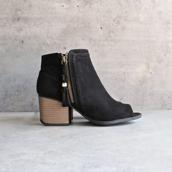 vegan suede tassel block heeled ankle boots - black