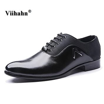 Viihahn Men's Leather Shoes Spring/Autumn Casual Business Work Pointed Toe Lace up Oxford Platform Shoes For Man
