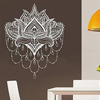 Lotus Flower Wall Decal Indian Geometric Vinyl Sticker Decals Home Decor Boho Bohemian Bedroom Dorm Ornament Namaste Yoga NV151