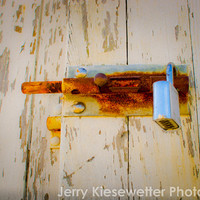 Rusted Lock Photograph, White Wooden Barn with Rusty Lock , White Orange Red Home Decor, Shabby Chic Photograph, Fine Art Photography
