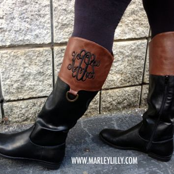Monogrammed Brown & Black Colorblock Riding Boot | Footwear | Marley Lilly