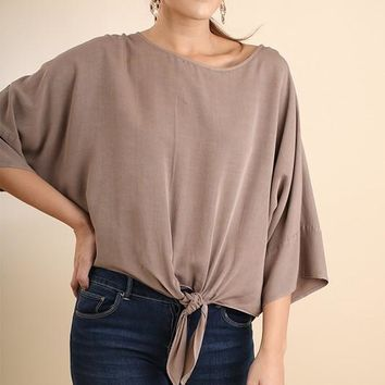Mineral Washed Dolman Sleeve Front Tie Top - Latte