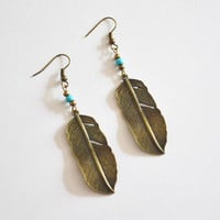 Native American Inspired Earrings. Feather and Turquoise Bead Earrings. Tribal Feather Jewelry.