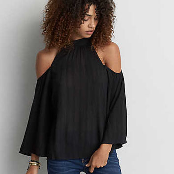 AEO Cold Shoulder Bell Sleeve Top , True Black