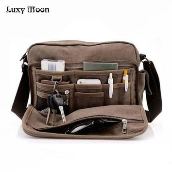 Canvas travel bag men messenger cross body Shoulder vintage style briefcase Satchel