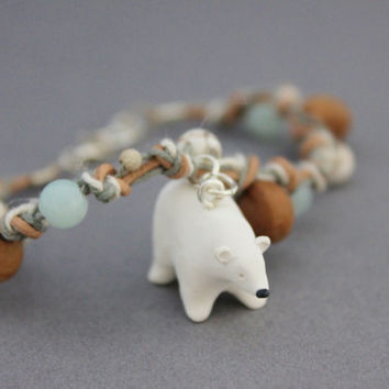 polar bear bracelet polymer clay polar bear totem charm bracelet white and pale blue