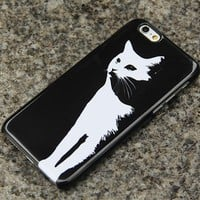 White Cat iPhone 6 6s Case Adorable iPhone 6 plus iPhone 5S 5 iPhone 4S/4 Samsung Galaxy S6 edge S6 S5 S4 S3 Note 3 Case Animal Print 016
