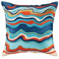 Waterflow Blue Embroidered Throw Pillow