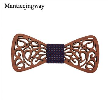 Classic Hollow Wood Bow Ties For Mens Wedding Suits Wooden Bow Tie Butterfly Shape Bowknots Gravatas Slim Cravat
