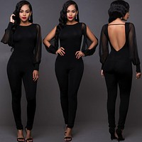 Mesh Long Sleeve Sexy Women Backless Jumpsuit Bodycon Romper Trousers for woman