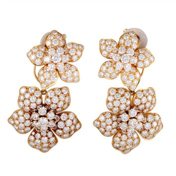 Van Cleef & Arpels Full Diamond Pave Gold Floral Clip-On Dangle Earrings