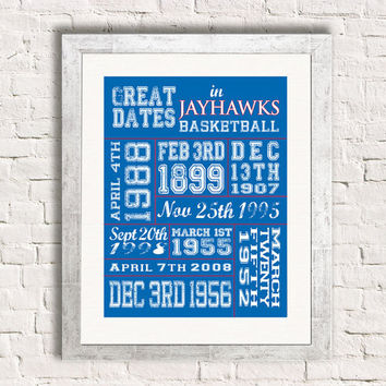 Important Dates in Sports History - Kansas Jayhawks - Sports Art Print Customized Gift Memorablia
